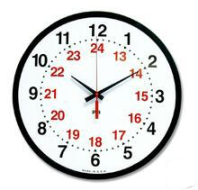 24 hour clock: first 12 hours are in black outer ring, inner ring shows from noon to midnight