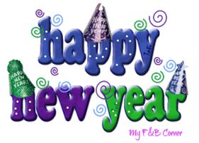 """Happy New Year"" decorated slogan"