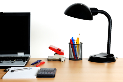 Neat and orderly desk with only the essentials.