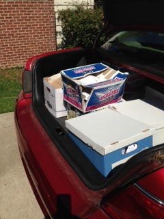 Car trunk full of documents to shred