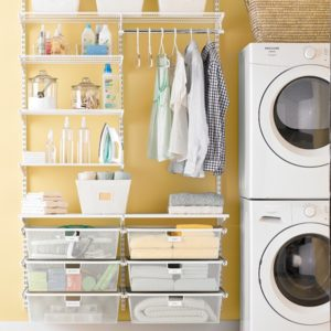 The Container Store's White Elfa Laundry room