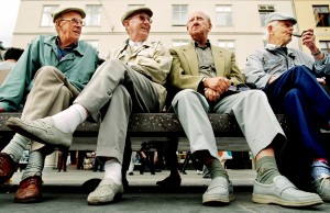 Elderly men on bench